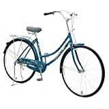 HUZONG 26 Inch Aluminum Wheels Women's Bike, Classic Beach Cruiser Freestyle Bicycle, Adult Teens Cycle, Steel Frame Mountain Bike, Retro Bicycle, Wear-Resistant Tires for Men/Women Outdoor (Blue)