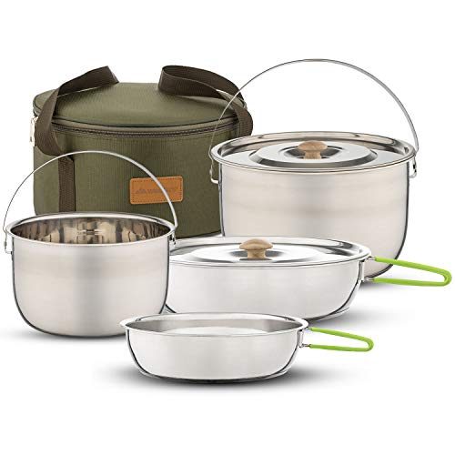 Wealers Camping Cookware Set - Compact Stainless Steel Campfire Cooking Pots and Pans | Combo Kit...
