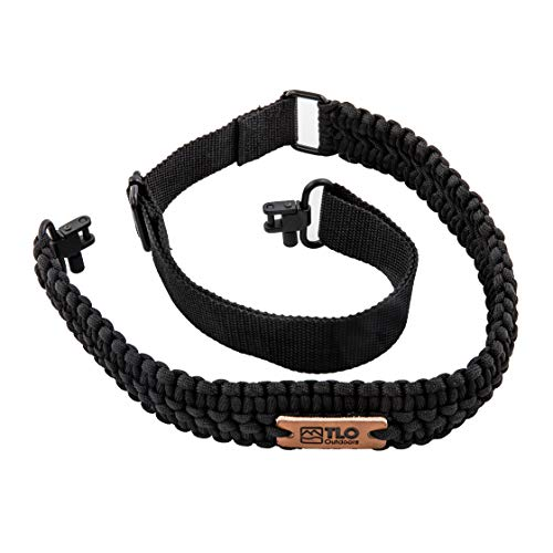 TLO Outdoors Paracord Gun Sling - Tactical 2-Point Rifle Sling, Extra Wide, Adjustable Strap with Swivels for Rifle, Shotgun, and Crossbow for Hunting, Shooting, Gun Safety (550 Rated Nylon)