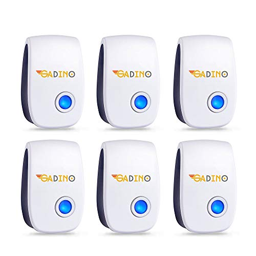 GADINO Ultrasonic Pest Repellent - Indoor Plug, Electronic and Ultrasound Repeller - Insects, Mice, Spiders, Mosquitoes, Bugs Control (Pack of 6)