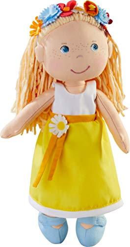HABA 303664 - Puppe Wiebke , Weiche Stoffpuppe zum Spielen und Kuscheln mit Kleid zum An- und Ausziehen, Puppe aus hochwertigen, waschbaren Materialien , Ab 18 Monaten , Größe: 30 cm