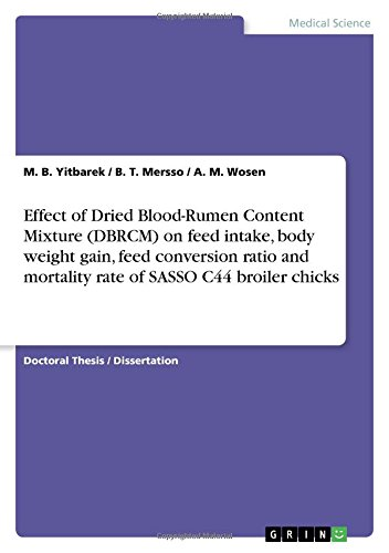 Effect of Dried Blood-Rumen Content Mixture (DBRCM) on feed intake, body weight gain, feed conversion ratio and mortality rate of SASSO C44 broiler chicks