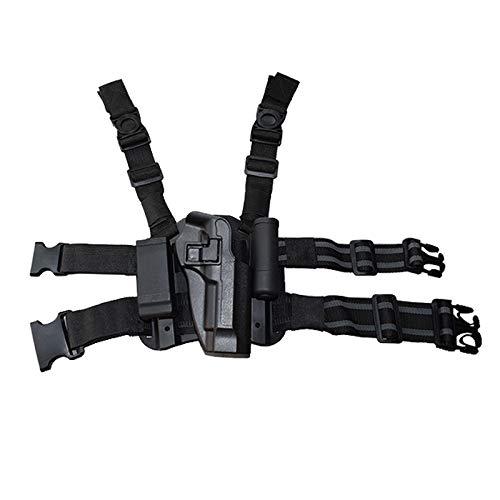 NO LOGO X-Baofu, Military Combat Gun Beinholster Waffenkoffer Tactical Right Thigh Leg for Beretta 92/96 / M9 Pistole Mit Magazintasche (Farbe : Black Leg