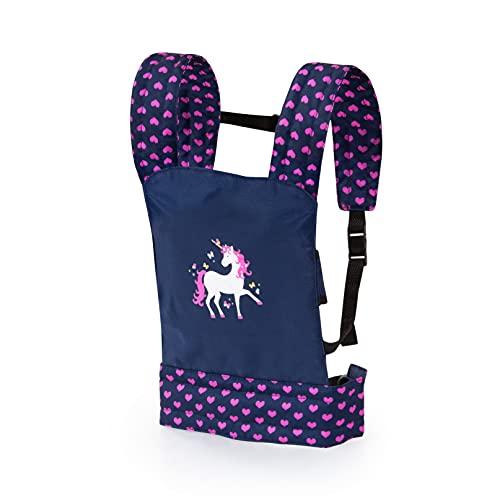 Bayer Design- Portabebés EasyCarry, Transporte, Porta, Accesorios para muñecos, Juguetes para niños, Ajustable, Color azul con unicornio (62254AA)