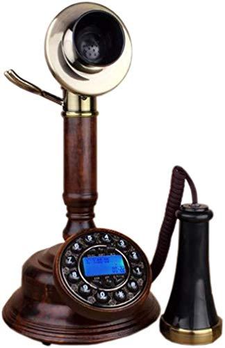 AWAING Telefonos Antiguos Vintage Cable - Modelo C - Teléfono Vintage/Teléfono Retro Hecho de Madera auténtica, Piezas clásicas de plástico Negro parcialmente Doradas con latón - Dial giratori