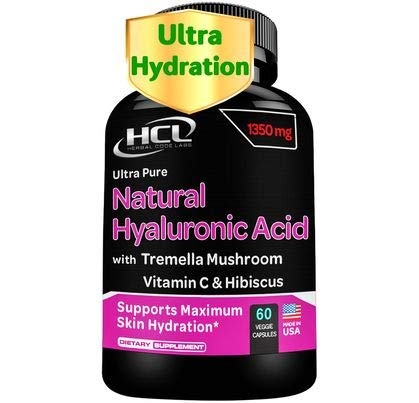 41R96dMGu1L. SL500  - Natural Hyaluronic Acid Supplement 5X Stronger Hydration Pills from Pure Tremella Mushroom with Vitamin C & Hibiscus - Anti-Aging Skin Supplement Anti Wrinkle Capsules