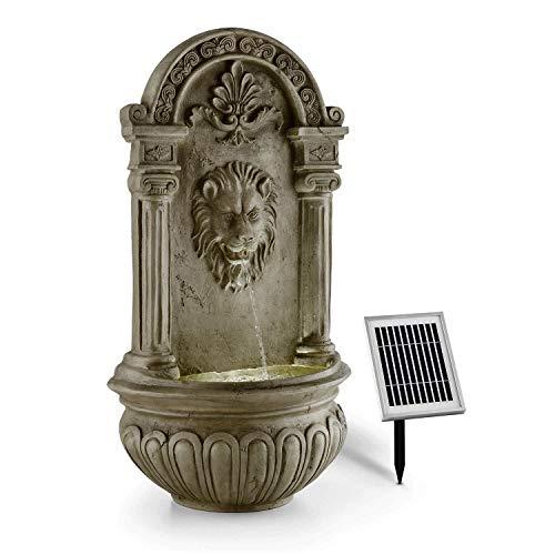 blumfeldt Löwenstein Wall Fountain Garden Fountain Sola 2W Mini Pump for up to 200 l/h Water Circulation Water-Flowing Lion Head 4-Beam LED Lighting Easy Intallation Setup Polyresin Stone Look