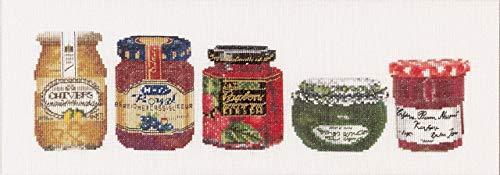 Thea Gouverneur - Kit de Punto de Cruz Contado - 3047 - Hilos DMC Preseleccionados - Mermelada - Lino - 13cm x 36cm - Kit de Bricolaje