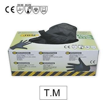 JBM 52681 Guantes Desechables de Nitrilo, Negro, M, Set de 100 Piezas