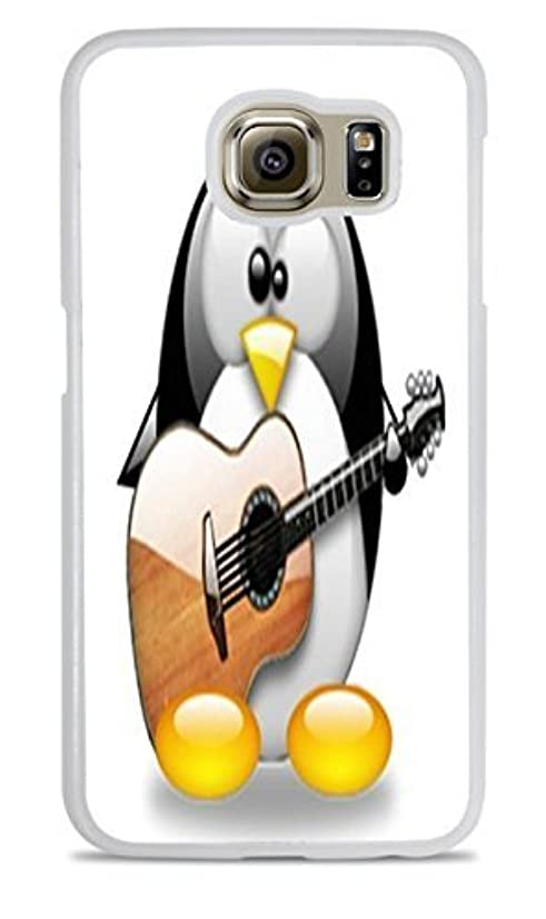Cute Penguin Playing the Guitar White Silicone Case for Samsung Galaxy S6