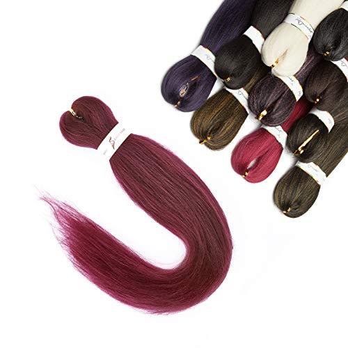 Elailite Extension Treccine Africane Capelli Finti Ricci per Treccia Donna Bambina Trecce Lunghe 50cm 1 Ciocca Braids Braiding Hair Crochet Fibre Sintetiche 75g - Rosso Borgogna