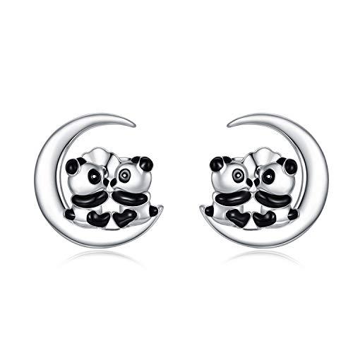 PEIMKO Collier en argent sterling 925 avec pendentif en forme de panda sur lune et boucles d'oreilles - Cadeau idéal pour femme et fille