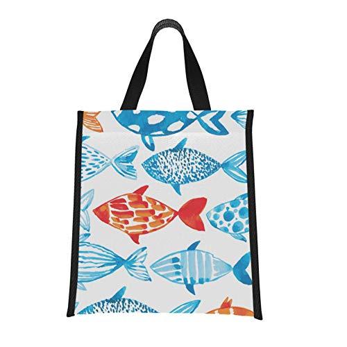 Bolso colorido para el almuerzo, pescado, suministro de verano para hombre, fiambreras para la playa, reutilizable, plegable, mantiene la comida caliente/fría para mujeres, hombres, e