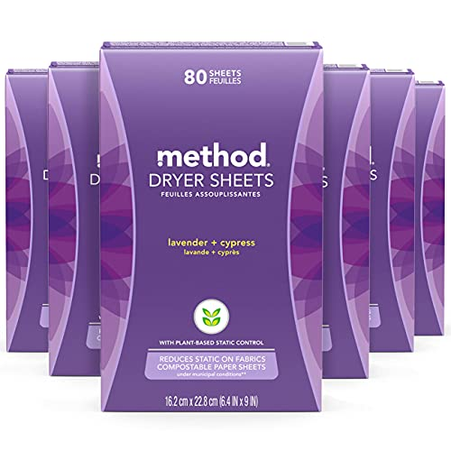 Method Dryer Sheets, Lavender + Cypress, 80 Sheets, 6 pack, Packaging May Vary