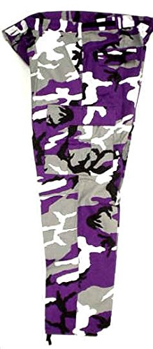 Rothco Youth Sports (Colors) Purple, Black & White Camouflage Pants (Medium (10/12))