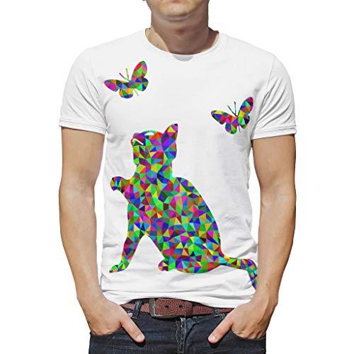 Mode Herren T-Shirt Bunte Kätzchen Schmetterling Druck Kurzarm Baumwolle Erwachsene T-Shirt T-Shirts White l