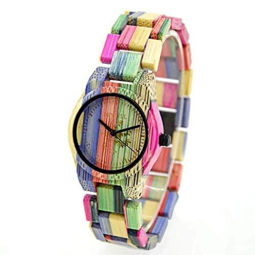 Leyue Reloj de Madera, Moda Ultra Delgada y Coloridos Relojes de bambú y Madera, Romance Informal, Salud, Salud y protección del Medio Ambiente Reloj de Mujer (Tamaño: Mujeres) (Size : Women)