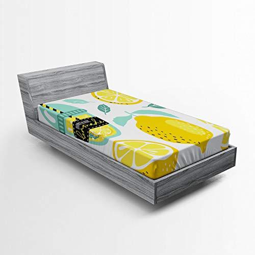 ABAKUHAUS Citroen Hoeslaken, Zelfgemaakte limonade met Pijp, Zachte Decoratieve Stof Beddengoed, Elastische Band Rondom, 90x 190 cm, seafoam Mosterd