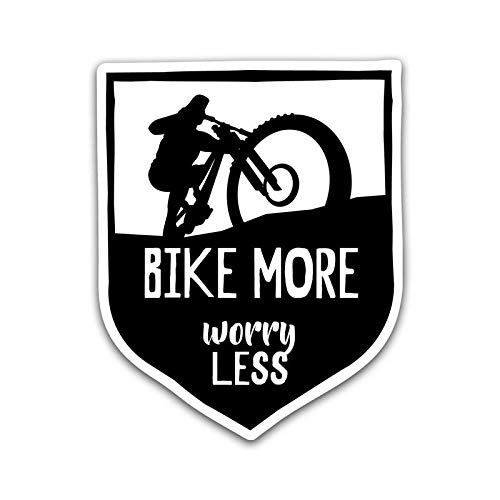 Bike More, Worry Less Vinyl Decal Sticker - Car Truck Van SUV Window Wall Cup Laptop - One 5.25 Inch Decal - MKS0843