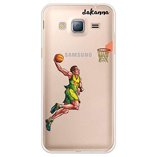 dakanna Funda para Samsung Galaxy J3 - J3 2016 | Jugador de Baloncesto | Carcasa de Gel Silicona Flexible | Fondo Transparente