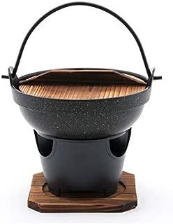 Hinomaru Collection Japanese Style Single Serving Shabu Shabu Hot Pot Sukiyaki Irori Nabe Pot with Wooden Lid and Cooking Stove 32 fl. oz 7