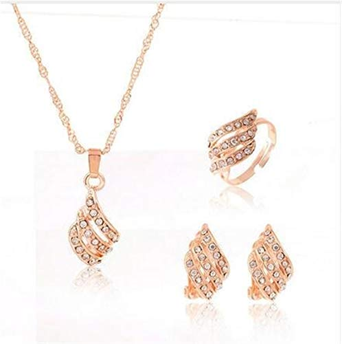 Juegos de joyería Collar de novia Pendientes Anillo Mujeres Cristal Conjunto de joyas de moda *1* (Metal color : F169)