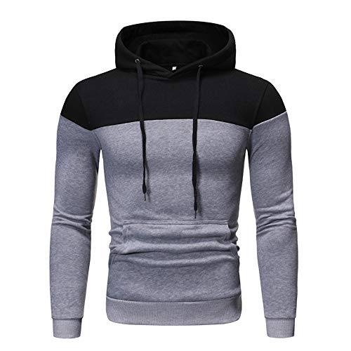 Sweatshirts for Men Sweatshirt Men's Sleeves Casual Hooded Long-Sleeved Sweater Men's Contrast Color Mosaic Hoodie Loose Casual Autumn and Winter Color Matching Pocket Plush Stitching Hoodie