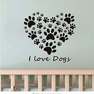 I Love Dog paw Print Heart Wall Sticker Living Room Detachable Vinyl Wall Art DIY Wall Decal Wallpaper Home Decoration 44x45cm