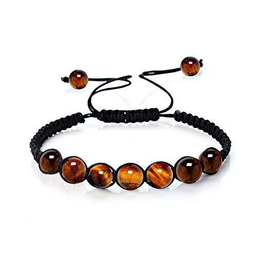 Mister Boncuk`s Makramee Armband für Damen und Herren - Chakra - Yoga - Sport - Freizeit - Fitness - Shamballa - Geschenkidee (Tigerauge)