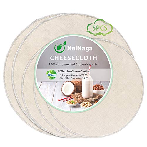 5 Pack Circle Cheesecloth, 100% Unbleached Cotton Ultra Fine Cheese Cloths for Straining, Grade 90 Plus Cheese Cloth Weave Fabric Filter for Cooking, Baking (2 Pack 23.6' & 3 Pack 15.7')