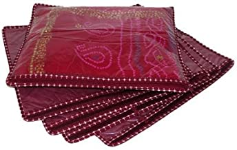 Kuber Industries™ Resin Saree Cover (Set of 6) - Maroon