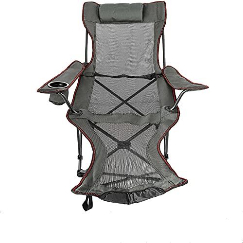 YLJR Silla plegable de campo, plegable y reclinable con reposapiés, portátil, para la playa al aire libre, para camping, salón o jardín, plegable