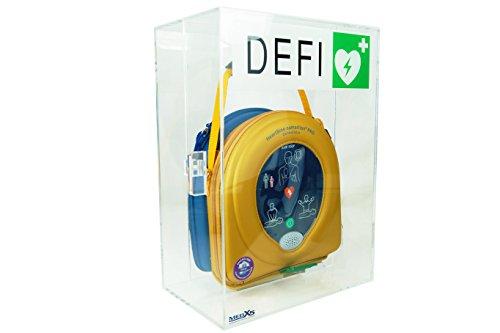 MedX5 (Upgrade 2019) 100dB universal Defibrillator Plexiglas Wandkasten für Innen, für alle AED's mit Alarm