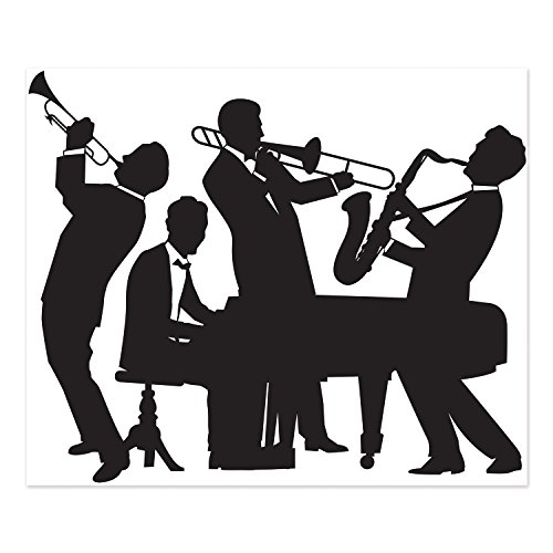 Beistle 20's Jazz Band Insta Mural Complete Wall Decoration Mardi Gras Music Party Supplies, 5' x 6', Black/White