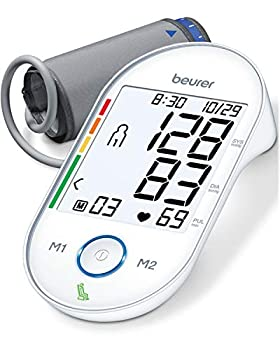 """Beurer Upper Arm Blood Pressure Monitor Automatic & Digital 2-Users Irreg Heartbeat Detector Home Use BP Machine Kit Patented Technology XL Display Large Cuff Circ 8.7""""-16.5"""" 4 Piece Set"""