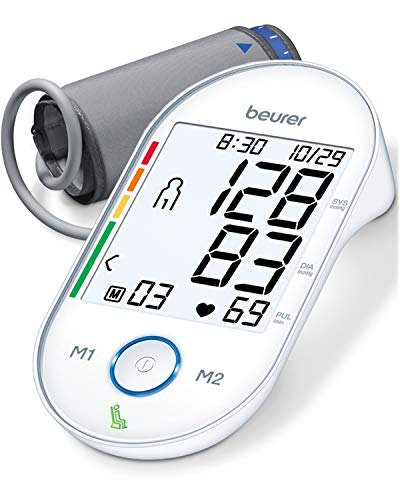 """Beurer Upper Arm Blood Pressure Monitor, Automatic & Digital, 2-Users, Irreg. Heartbeat Detector, Home Use BP Machine Kit, Patented Technology, XL Display, Large Cuff Circ. 8.7""""-16.5"""", 4 Piece Set"""