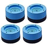 Kitchen-dream Piedini per lavatrice antivibrazione, 4pcs Ammortizzatore Vibrazione per Lavatrice in Gomma, Tappetino antivibrante a Basso Rumore per Lavatrice e asciugatrice-4cm, blu