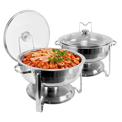 430 Stainless Steel Chafing Dish Buffet Set, 4 Quart Round Buffet Warmer Chafer Set with Lid & Lid Holder For Buffet Weddings Parties Banquets Catering Events (2 Packs)