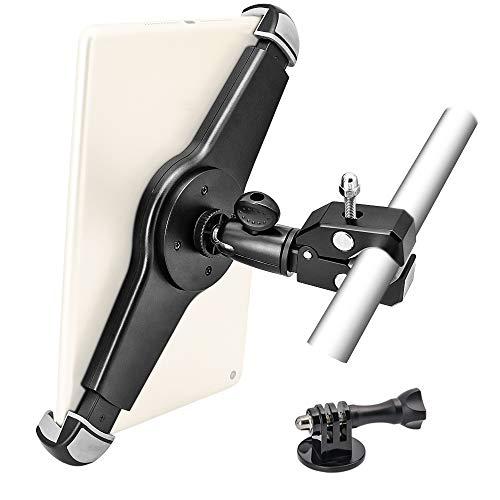 EXSHOW ヘビーデューティー金属製のオートバイ/自転車のハンドルバーマウント タブレット& カメラ用三脚マウントホルダー 対応機種:iPad Pro 12.9 11 10.5 iPad Air 5 4 3 2 1, アクションカメラ Hero 9 8 7 6 5 4 3+ 3 2 1 と全てのカメラ