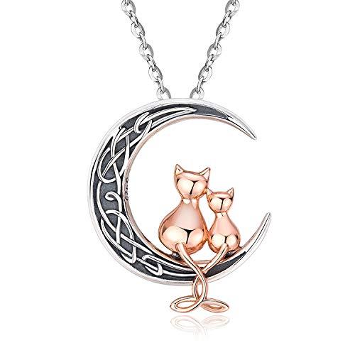 Halskette mit Katzenanhänger aus Sterlingsilber, Katze auf Mond, niedlicher zweifarbiger Katzenschmuck für Frauen und Mädchen, allergiefrei, Geburtstags-Freundschaftsgeschenke für sie