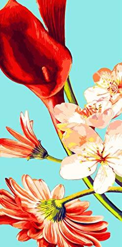 Pintura por Números Flor rosa roja Pintar con Numeros para Adultos/Niños,Pintura al óleo de DIY por Números Decoraciones para el Hogar 40x50 cm(Sin Marco)