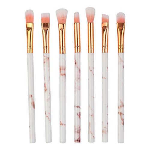 ZIMUUY Lot de 7 pinceaux de maquillage professionnel, Marbre, pour yeux Poils naturels-synthétiques(taille unique,rose)