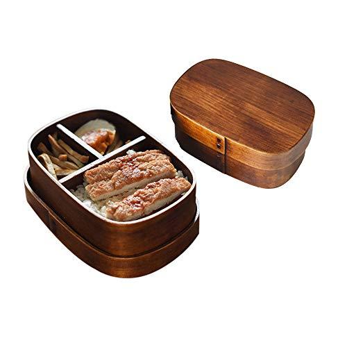 Hebudy Bento - Fiambrera de madera estilo japonés Bento caja ovalada para alimentos, sushi, aperitivos, aperitivos, caja Bento con tapa para picnic, camping, oficina, escuela Sqaure