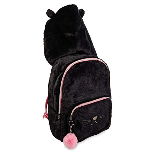 "Kitty Cat Hooded Backpack Travel Bag with Soft Plush Black Fur and a Cute Hood Design with ""Furocious"" Kitty Ears, Pink Trim, Silver Cat Face, and Fuzzy Pink Pouf Pompom Keychain"