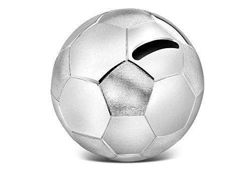 Spardose Fußball 8,5x8,5x8cm versilbert