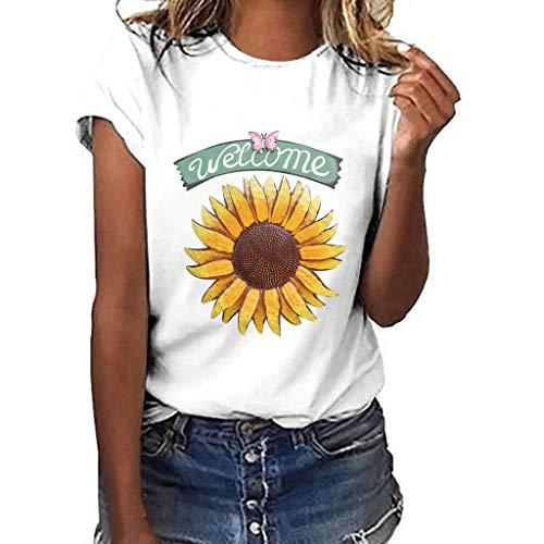 Berimaterry Camisa de Manga Corta de Botón de Mujer,Tallas Grandes Camisetas Mujer Manga Corta Camisas Mujer Verano Elegantes Estampado de Moda Casual para Mujer Fiesta Playa 2019 Mujer Girasol