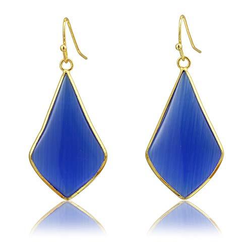 Top Plaza Womens Fashion Natural Gemstone Ear Hook Water Drop Ear Pendant Dangle Earring