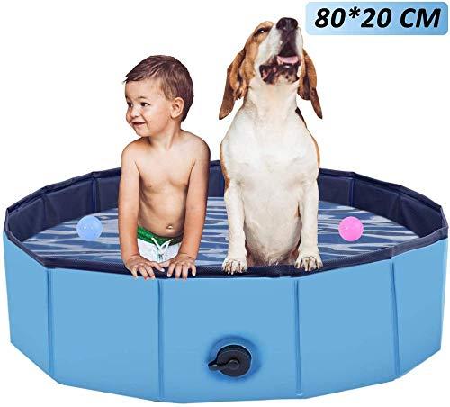 yumeng Hundepool Schwimmbecken Faltbares Hundebecken Haustier Planschbecken Hundebadewanne Schwimmbad für Hunde Wasserteichbecken Kinderbecken für Haustiere Baden Blau (80 * 20)