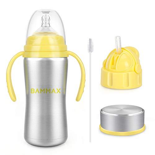 Bammax Biberon Thermos con Manici 3 IN 1 Bottiglia in Acciaio INOX di Alta Qualità, resistente e igienico, 180 ml