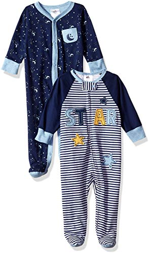 Just Born Baby Boys' 2-Pack Organic Sleep 'N Play, Space, 0-3 Months